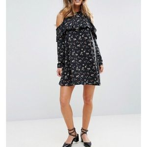 ASOS Cold Shoulder Ruffle Sweat Dress in Ditsy